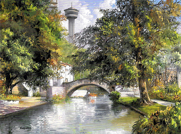 San Antonio River at La Villita print