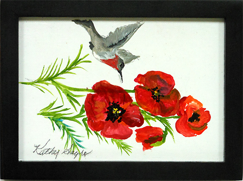 Poppies with Hummingbird